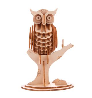 Ugle-puslespill Kikkerland Owl 3D Wooden Puzzle